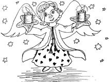Funny cute angel with light candles, stars. Hand drawn ink sketch design element. For web, for print stock vector illustration Royalty Free Stock Image