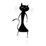 Funny cute black cat illustration Royalty Free Stock Image