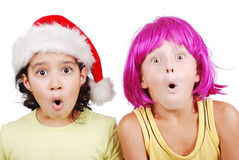 Funny cute boy with pink periwig Royalty Free Stock Photo