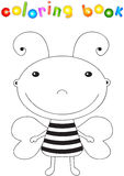 Funny cute cartoon bee. Educational coloring book Royalty Free Stock Photography