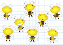 Funny cute cartoon bee. Emotions: sadness, joy, laughter, sarcas Royalty Free Stock Photos