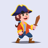 Funny cute cartoon Boy pirate kid with wooden sword. Royalty Free Stock Image