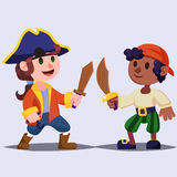 Funny cute cartoon Boys pirates kids with wooden sword. Royalty Free Stock Images