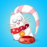 Funny, cute cartoon character cats. Animal eats from bowl. Vector eps10 Stock Photography