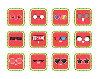 Funny cute cartoon comic watermelon characters in glasses with showing various, different emotions. Set watermelon icons. Funny cute cartoon comic watermelon Royalty Free Stock Photos