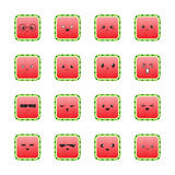 Funny cute cartoon comic watermelon characters with showing various, different emotions. Set of watermelon icons. Funny characters, mascots, emoticons isolated Royalty Free Stock Photos