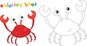 Funny cute cartoon crab. Educational coloring book Royalty Free Stock Photos