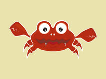Funny cute cartoon crab vector illustration Royalty Free Stock Images