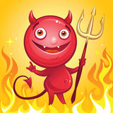 Funny cute cartoon devil smiling Royalty Free Stock Photography