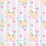 Funny cute cartoon faces seamless pattern cat Royalty Free Stock Photos