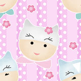 Funny cute cartoon faces seamless pattern cat Royalty Free Stock Image