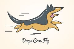 Funny cute cartoon german shepherd dog. Running fast. Isolated  illustration and inscription - dogs can fly Royalty Free Stock Photos