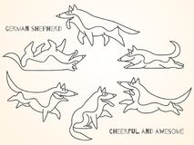 Funny cute cartoon german shepherd dogs. In various poses. Isolated  illustration Stock Photography
