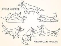 Funny cute cartoon german shepherd dogs Stock Photography