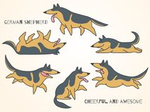 Funny cute cartoon german shepherd dogs. In various poses. Isolated  illustration Royalty Free Stock Photography
