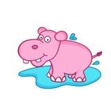 Funny cute cartoon of hippopotamus. Stock Photography