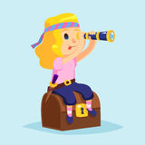 Funny cute cartoon little pirate girl with Spyglass and treasure chest Royalty Free Stock Image