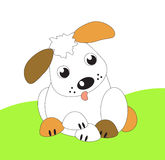 A funny cute cartoon little puppy Stock Images