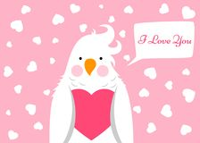 Funny, cute cartoon parrot. Love, valentinesday illustration. Funny, cute cartoon parrot. Love, valentinesday illustration Vector eps 10 stock illustration