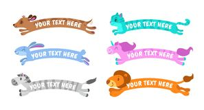 Funny cute cartoon simple animal banners. Vector childish design elements Stock Photography
