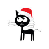Funny and cute cat with red christmas hat vector. Illustration Royalty Free Stock Image