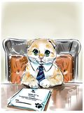 Funny cute cat in a tie sitting behind adesk Royalty Free Stock Photos