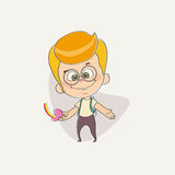 Funny cute character of a young boy royalty free illustration