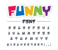 Funny, cute, child font type. Comic, cartoon, fun, happy kid alphabet. Letters, numbers typeset for character, colorful graffiti style game logo design. Modern Stock Photos