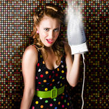 Funny Cute Cleaning Woman Ironing Retro Fashion Royalty Free Stock Image