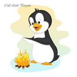 Funny and cute cold little penguin make a fire. Merry Christmas and Happy New year card. Christmas card in cartoon style. Vector illustration. New Year Royalty Free Stock Image