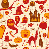 Funny cute colored seamless background abstract pattern for hallowe?? Royalty Free Stock Photography