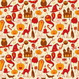 Funny cute colored seamless background abstract pattern for hallowe?? Royalty Free Stock Images
