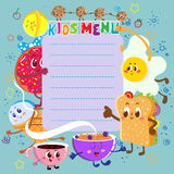 Funny and cute colorful kids menu Royalty Free Stock Photo