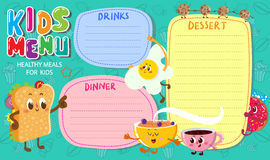 Funny and cute colorful kids menu. Vector template. Funny and cute colorful kids menu with funny food Stock Photography
