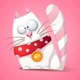 Funny, cute, crazy cartoon cat. Funny, cute, crazy cartoon cat Vector eps 10 Stock Image