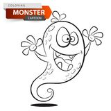 Funny, cute, crazy cartoon monster character. Coloring illustration. Funny, cute, crazy cartoon monster character. Coloring illustration Vector eps 10 vector illustration