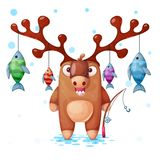 Funny, cute, crazy deer characters. Fish, fishing illustration. royalty free illustration