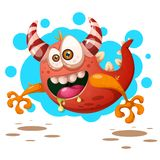 Funny, cute crazy pumpkin character. Halloween illustration. For printing on T-shirts. royalty free illustration