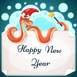 Funny, cute, crazy snake characters. Happy new year illustration. Vector eps 10 royalty free illustration