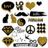 Funny and cute decorative elements - Scrapbook stickers - Hand drawn Raster Patches Royalty Free Stock Image