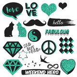 Funny and cute decorative elements - Scrapbook stickers - Hand drawn Raster Patches Stock Images