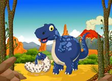 Funny cute dinosaur cartoon with her baby in the jungle Stock Photography