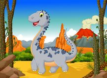 Funny cute dinosaur cartoon posing in the jungle with landscape background Stock Images
