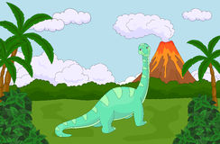 Funny cute diplodocus on the background of a prehistoric nature. Stock Photo