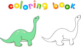 Funny cute diplodocus. Educational game for kids. Coloring book Stock Image