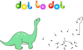 Funny cute diplodocus. Educational game for kids. Connect digits Stock Images