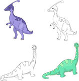 Funny cute diplodocus and parasaurolophus. Educational game for Stock Photo