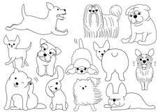 Dog doodle line art set. Funny and cute dog doodle line art set Royalty Free Stock Images