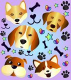 Funny and cute dogs. A great collection of cartoon sketches of funny and cute dogs. I love my pet Royalty Free Stock Photo