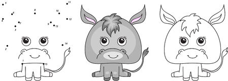 Funny and cute donkey. Vector illustration for kids. Dot to dot game and coloring book royalty free illustration